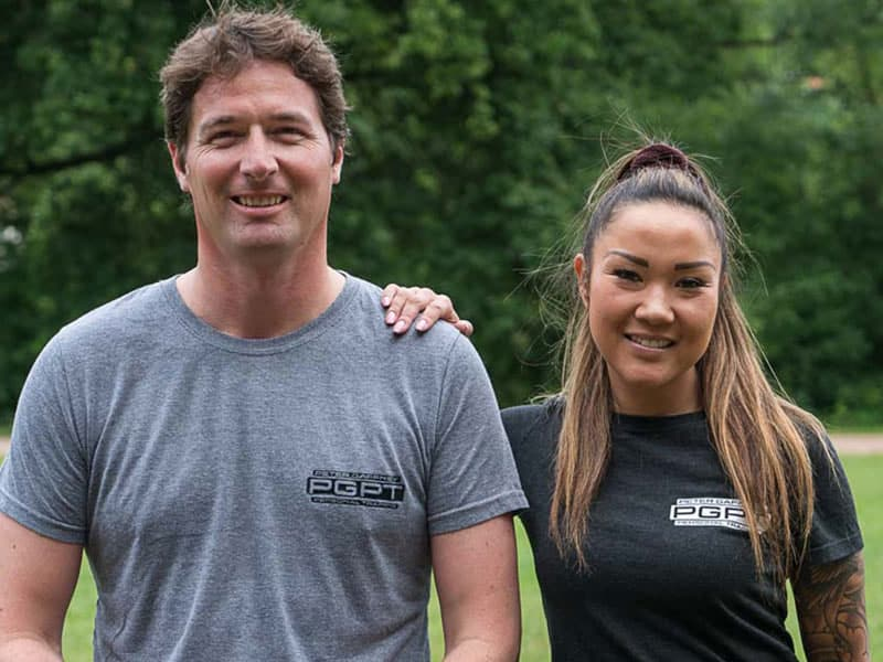 mobile personal trainer with client